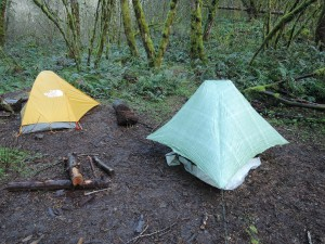 Right: Six Moon Designs Skyscape tent I will use on the CDT. Left: Tom's tent.