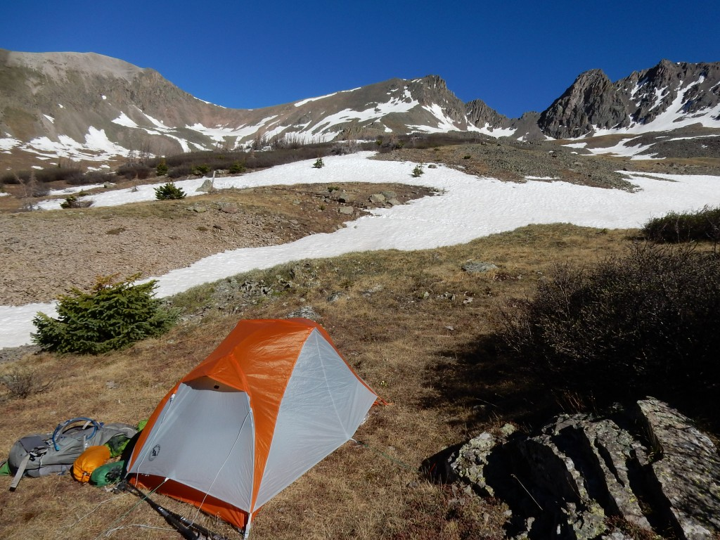 My campsite in a lovely cirque north of Creede and San Luis Pass.