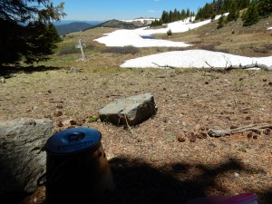 A half-day out of Monarch Pass and the town of Salida I decided to cook up some delicious Annies Mac & Cheese. And I enjoyed watching the snowfields melt in front of me!